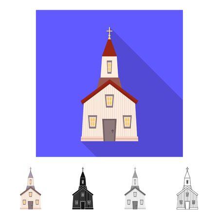 Vector illustration of church and catholic icon. Set of church and prayer stock vector illustration.