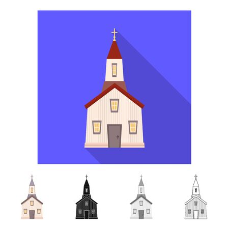 Vector illustration of church and catholic icon. Set of church and prayer stock vector illustration.