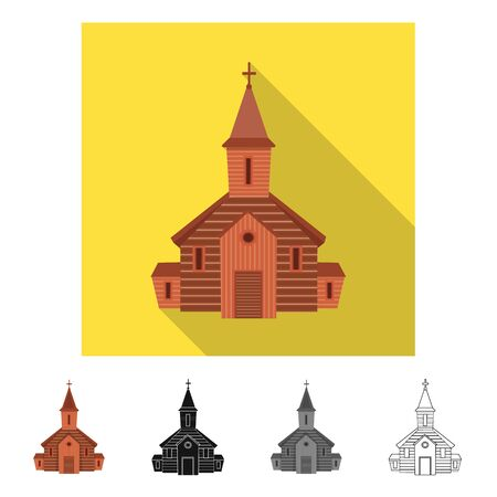 Vector design of church and orthodox symbol. Collection of church and bible stock symbol for web. Ilustração