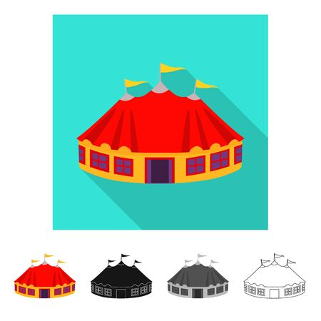 Vector design of tent and dome symbol. Collection of tent and recreation stock symbol for web.