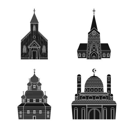 Vector design of house and parish icon. Set of house and building vector icon for stock. Çizim