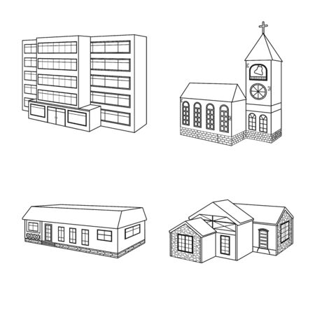 Vector design of city and construction icon. Collection of city and estate stock symbol for web.