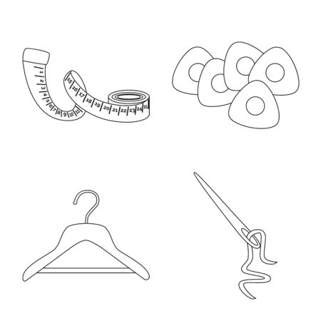Vector illustration of fashion and tailoring. Collection of fashion and textile stock vector illustration. 일러스트
