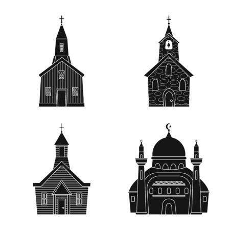 Vector design of house and parish sign. Collection of house and building vector icon for stock. Illustration