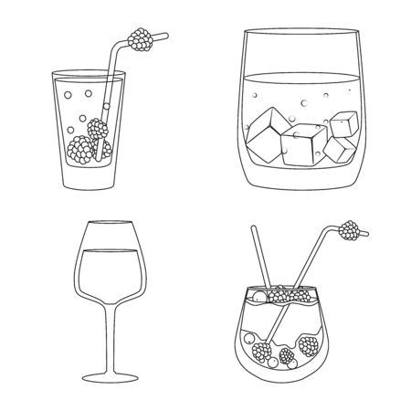 Vector design of beverage and ice. Collection of beverage and shaker stock vector illustration. Banco de Imagens - 128366612