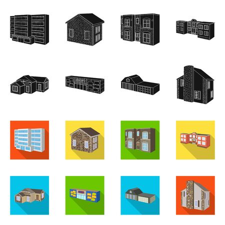 Isolated object of facade and housing symbol. Collection of facade and infrastructure vector icon for stock. Banque d'images - 128366623