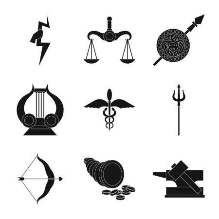 Vector design of religion and myths icon. Set of religion and greek stock symbol for web.