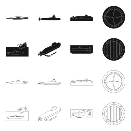 Vector design of war and ship icon. Set of war and fleet vector icon for stock.