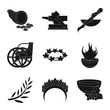 Vector illustration of religion and myths sign. Collection of religion and greek vector icon for stock. Stock Vector - 128366709