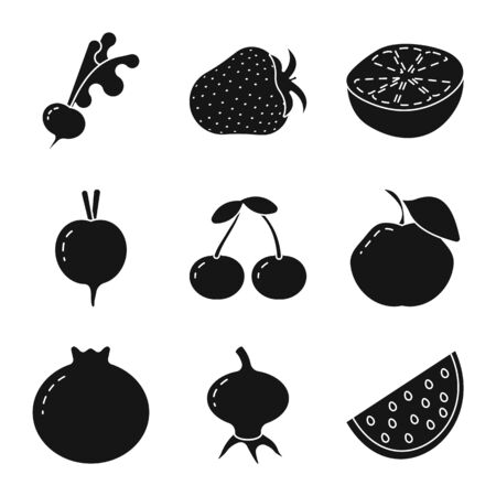 Vector illustration of vegetarian and organic. Set of vegetarian and food stock vector illustration.