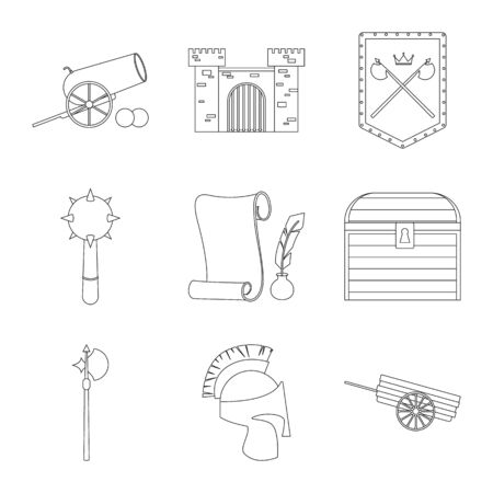 Vector illustration of heritage and ancient. Collection of heritage and tournament vector icon for stock.