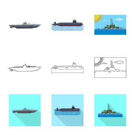 Vector design of war and ship icon. Set of war and fleet stock symbol for web. Illustration