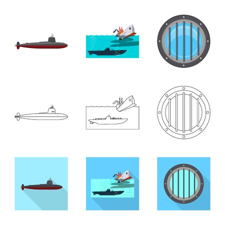 Vector design of war and ship. Collection of war and fleet stock symbol for web.