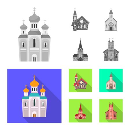 Vector illustration of cult and temple symbol. Set of cult and parish stock symbol for web.