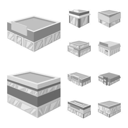Isolated object of construction and showcase. Collection of construction and architecture stock vector illustration Illustration