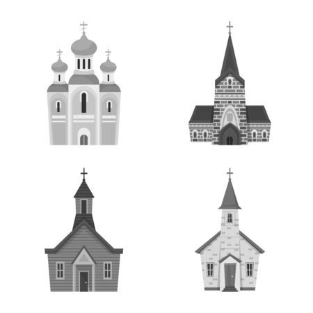 Isolated object of architecture and faith symbol. Collection of architecture and traditional stock vector illustration. Ilustração