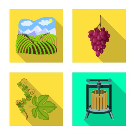 Vector design of farm and vineyard. Collection of farm and product stock symbol for web. 일러스트