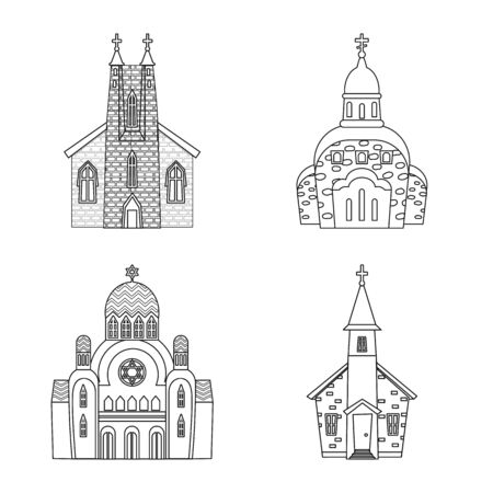 Vector design of architecture and faith icon. Collection of architecture and temple stock vector illustration. Ilustração