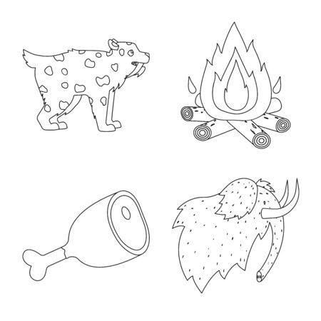 Isolated object of ancient and primitive icon. Collection of ancient and era stock vector illustration.