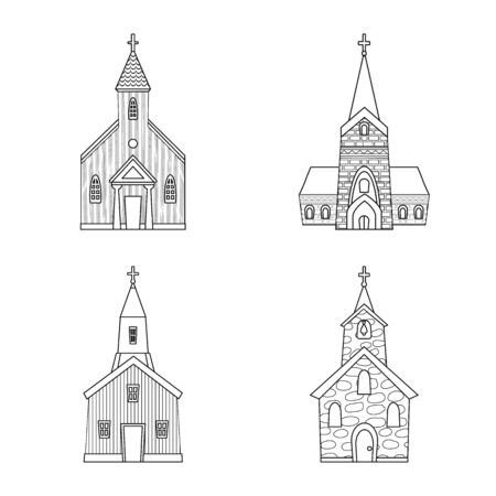 Isolated object of architecture and faith sign. Collection of architecture and temple stock vector illustration.