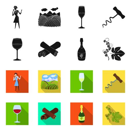 Isolated object of farm and vineyard sign. Set of farm and product vector icon for stock.