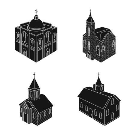 Vector illustration of parish and faith. Collection of parish and building vector icon for stock.
