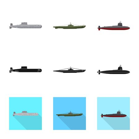 Vector illustration of war and ship. Collection of war and fleet stock symbol for web. Stock Illustratie
