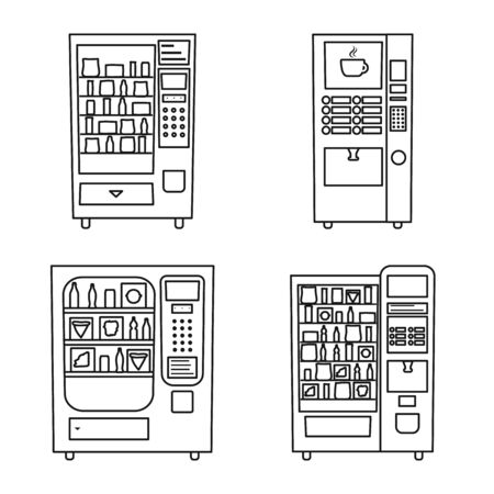 Vector design of business and snack symbol. Set of business and consumer stock symbol for web. Stock Illustratie