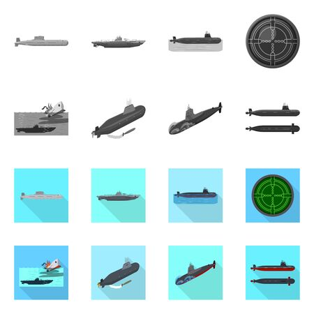 Isolated object of war and ship logo. Collection of war and fleet stock vector illustration. Reklamní fotografie - 128649369