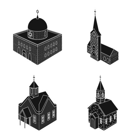 Isolated object of parish and faith logo. Collection of parish and building stock vector illustration. Ilustracja
