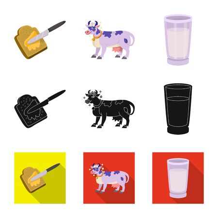 Vector illustration of creamy and product symbol. Collection of creamy and farm stock vector illustration.