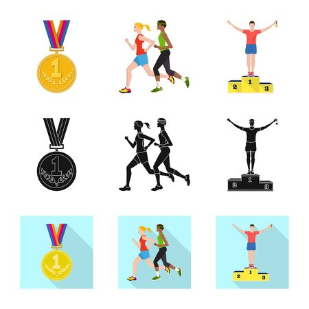 Vector illustration of sport and winner sign. Collection of sport and fitness stock vector illustration. Ilustracja