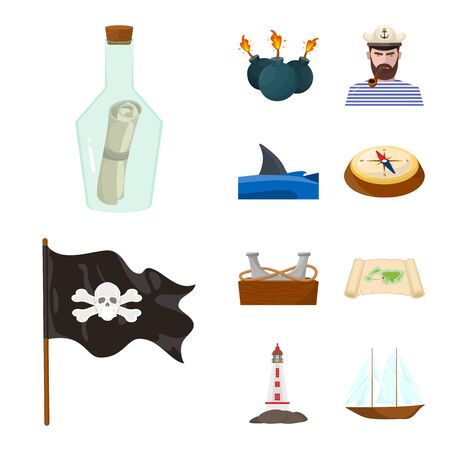 Isolated object of marine and adventure symbol. Collection of marine and ocean vector icon for stock.