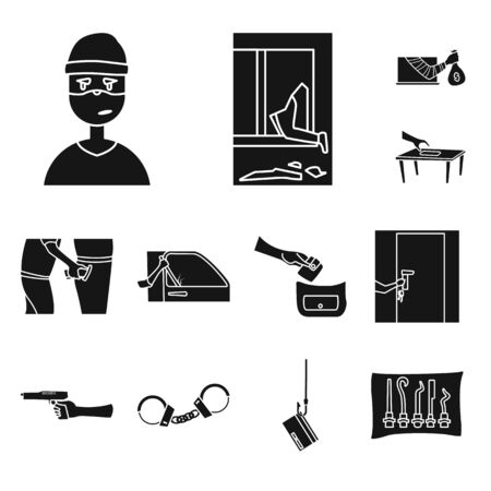 Isolated object of robber and villain icon. Set of robber and police vector icon for stock. Reklamní fotografie - 128649315