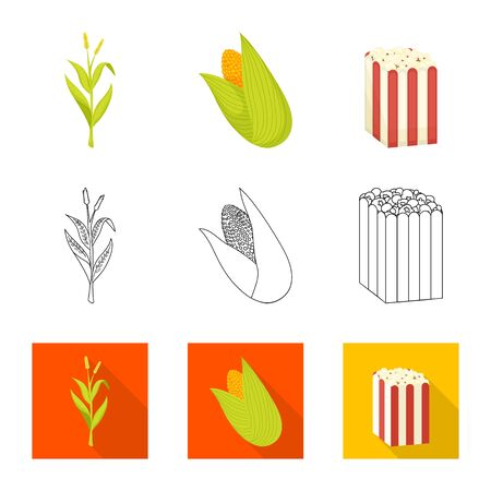 Vector illustration of cornfield and vegetable icon. Collection of cornfield and vegetarian stock symbol for web. Ilustracja