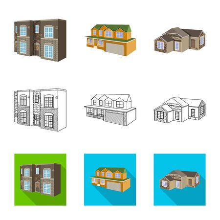Vector illustration of facade and housing icon. Set of facade and infrastructure stock symbol for web. Reklamní fotografie - 128649334