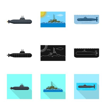 Vector design of war and ship logo. Set of war and fleet stock symbol for web. Ilustracja