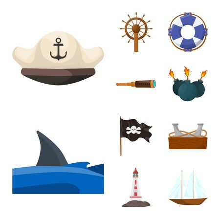 Vector illustration of marine and adventure symbol. Set of marine and ocean vector icon for stock.