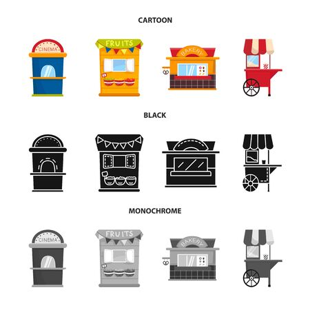 Vector illustration of amusement and store icon. Set of amusement and urban stock vector illustration. Reklamní fotografie - 128649141
