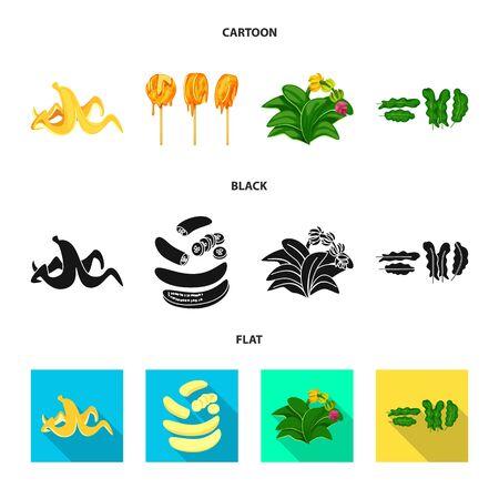 Vector design of natural and vegetarian sign. Set of natural and eating stock vector illustration. Illustration