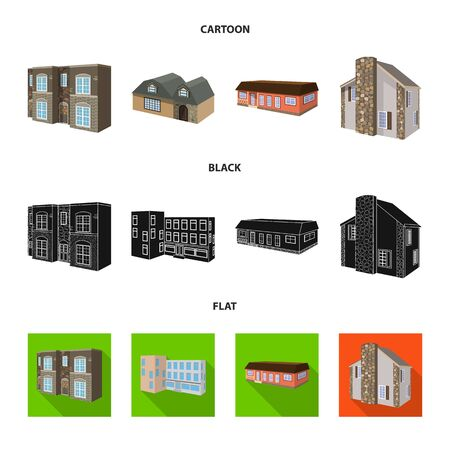 Isolated object of facade and housing icon. Collection of facade and infrastructure stock vector illustration.