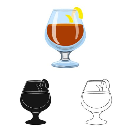 Vector design of glass and cognac logo. Set of glass and ice vector icon for stock. Reklamní fotografie - 128649079