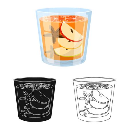 Vector design of glass and cinnamon icon. Collection of glass and grapefruit vector icon for stock. Ilustracja