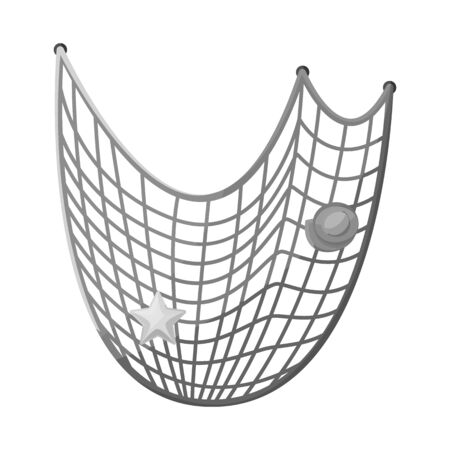 Isolated object of fishnet and fish logo. Set of fishnet and catch vector icon for stock.