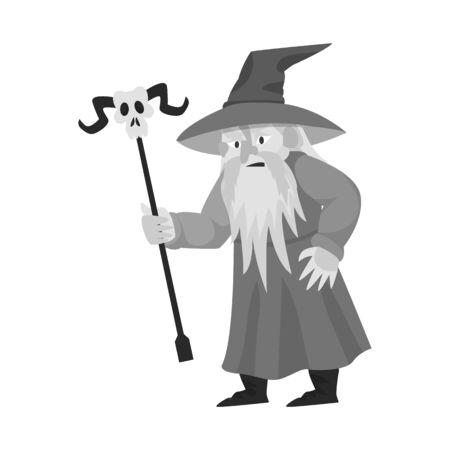Vector illustration of wizard and sorcerer logo. Collection of wizard and tale stock vector illustration. 向量圖像