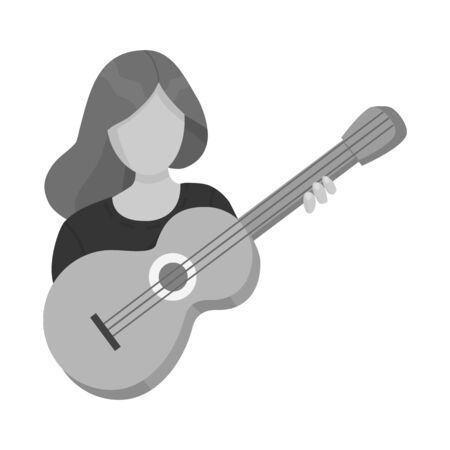 Isolated object of girl and guitar logo. Set of girl and woman stock symbol for web.