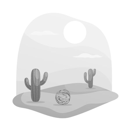 Isolated object of tumbleweed and cactus symbol. Collection of tumbleweed and west stock vector illustration.