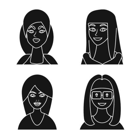 Isolated object of avatar and profession sign. Set of avatar and people vector icon for stock.