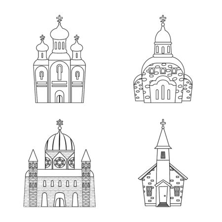 Isolated object of architecture and faith icon. Collection of architecture and temple stock vector illustration. Ilustração