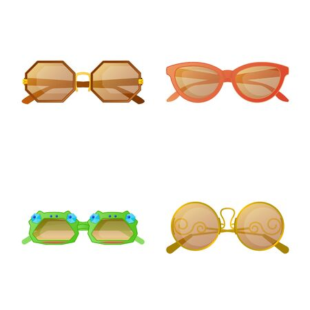 Vector illustration of glasses and sunglasses icon. Collection of glasses and accessory stock vector illustration. Ilustração